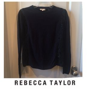 Rebecca Taylor Navy Lace Trim Wool Blend Sweater